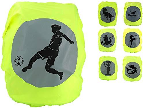 EANAGO Premium Schulranzen/Rucksack Regenschutz/Regenüberzug, ohne Nähte, 100{614ad0772bcc83dadb2bc586453e4c8e445e07510bbb7455ddb7a9f6fe67e3f1} wasserdicht, mit Sicherheits-Reflektionsbild Fußball