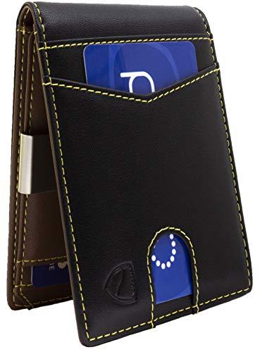Biafora - Cartera de Hombre con protección RFID y NFC – Bolso Negro de Piel con Bolsillo para Monedas, 8 Bolsillos para Tarjetas y Clip para Billetes – Tarjetero Bonus – 100% Vegano – Oro