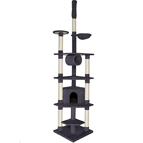dibea KB00422, Kratzbaum (Höhe 240-260 cm, höhenverstellbar), Kletterbaum für Katzen, grau
