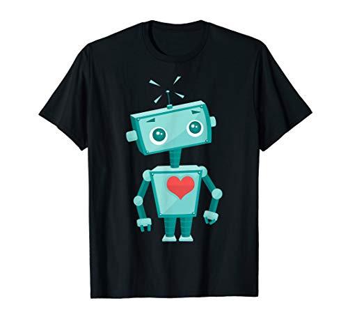 Robot Heart Valentine's Day Gift Shirt For Kids Girls