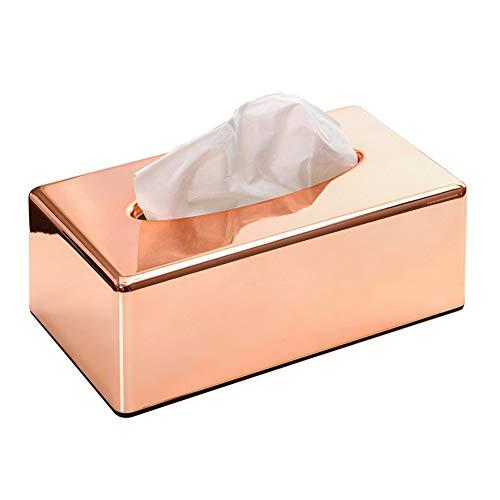 ATQY Tissue Box Cover, rechthoekige ABS houder, voor opslag op badkamer wastafel, aanrechtblad, slaapkamer dressoir, nachtkastje - roségoud