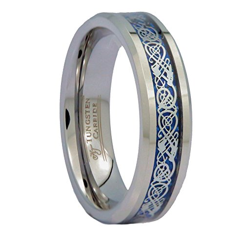 MJ Metals Jewelry Blue Celtic Dragon 6mm Unisex Tungsten Carbide Ring Wedding Band Ring Size 7