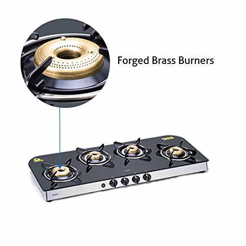 Glen 4 Burner LPG Glass Gas Stove with High Flame Forged Brass Burner, Auto Ignition, Black (1049 GT FB AI)