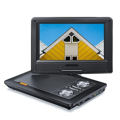 11.5\'\' Tragbarer DVD Player mit 9.5\'\' HD-Schwenkbildschirm, 5 Stunden Akku für Kinder und Auto, Auto-DVD-Player unterstützt SD-Karte/USB/CD/DVD/Sync TV und Mehrsprachige Wiedergabe (Schwarz)