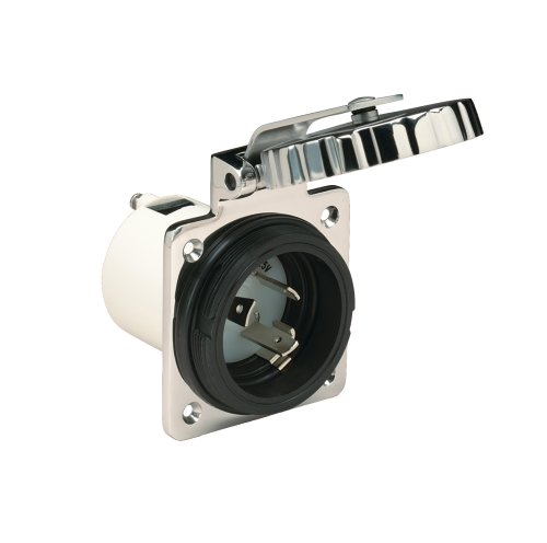 Marinco 30 Amp 125V Inlets, Round, Stainless Steel