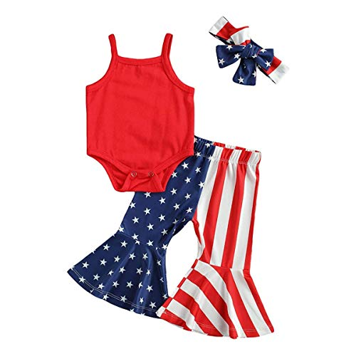 Newborn Baby Girl My First July 4th Clothes Strap Vest Romper+USA Flag Striped Flare Pants+Headband Outfit Set(July 4th-Red,3-6 Months)