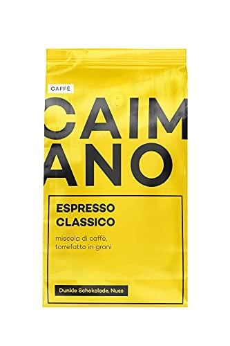 Caffè Caimano Espresso Classico, 1kg, ganze Bohne, dunkle Röstung nach italienischer Art, schokoladig & nussig, säurearm, sahnige Crema, ideal für Siebträger & Kaffeevollautomaten, DLG-prämiert