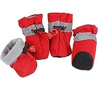 4PCS ペット 犬 冬 靴 雨雪 防水 ブーツソックス小さな 子犬 ため ゴム 製 滑り止め 靴 履物アクセサリー,red,2