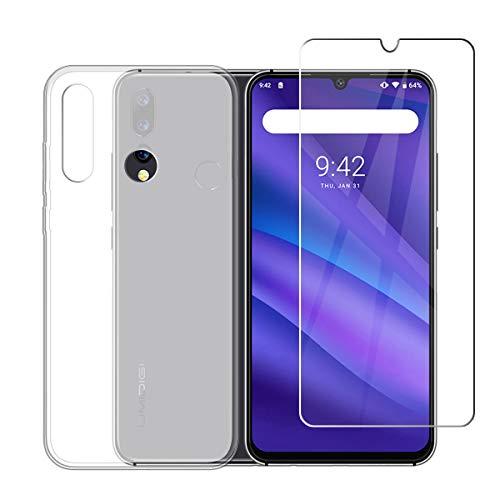 LJSM Hülle für UMIDIGI A5 Pro + Panzerglas Bildschirmschutzfolie Schutzfolie - Semi-Transparent Weich Silikon Schutzhülle Crystal Flexibel TPU Tasche Hülle für UMIDIGI A5 Pro (6.3