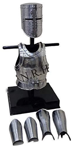 Nautical Replica Hub Protector medieval de brazo y pierna, chaqueta de pectoral, disfraz de armadura de casco templario de Crusader Knight