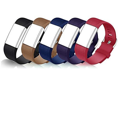 STAY Active Correas de Recambio para Fitbit Charge 2, Reloj Inteligente y Deportivo para Mujer y Hombre | Marca del Reino Unido - Diamante de Silicona (Negra, Marrón, Azul, Morada y Roja – Grande)