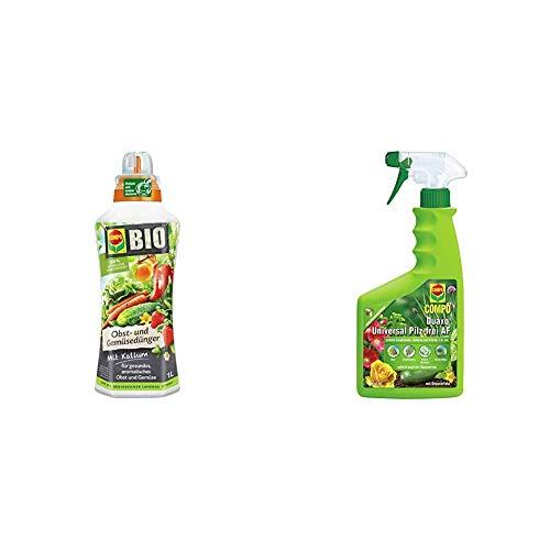 COMPO BIO Obst- und Gemüsedünger für alle Obst- und Gemüsesorten, 1 Liter & Duaxo Universal Pilz-frei AF, Bekämpfung von Pilzkrankheiten an Zierpflanzen, Gemüse und Kräutern, 750 ml