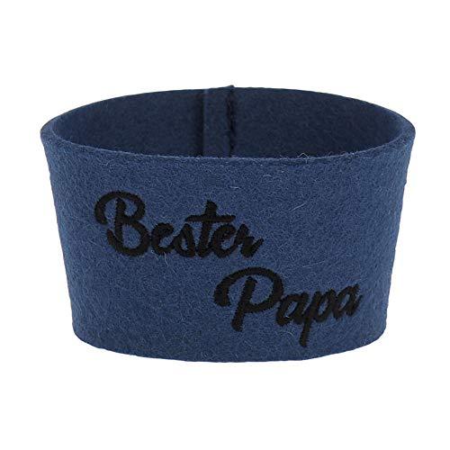 ebos Filzmanschette ✓ passend Coffee-to-Go-Becher aus Bambus ✓ (Bester Papa - Jeansblau)