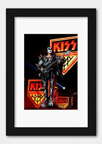 Kiss - Gene Simmons Etihad Stadium Melbourne 2013 Poster 4 Black Frame A3 (29.7x42cm) White