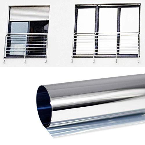 6,42 €/m2 Zonnescherm, spiegelfolie, zelfklevend, privacyfolie, folie voor ramen, ondoorzichtige zonwering, warmte-isolatie Laufmeter x 61cm Breite Spiegelfolie Silber