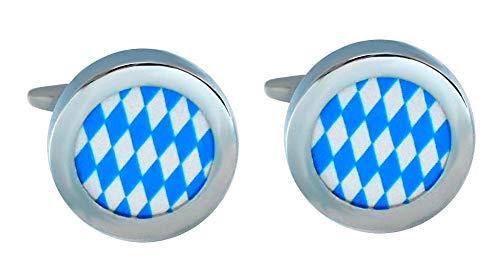 magdalena r. Manschettenknöpfe blau Weiss silbern rund - bayrisches Flaggen Design + Silberbox