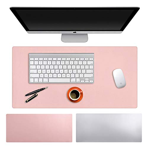 """BTSKY Multifunctional Large Office Desk Pad, 35.4""""x 15.75"""" Non-Slip PU Leather Desk Mouse Pad Mat Waterproof Dual-Side Use Desk Writing Mat Ultra Thin 2mm for Office/Home(Pink+Silver)"""
