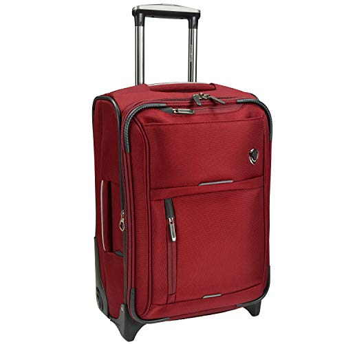 Travelers Choice Birmingham Ballistic Nylon Expandable Rollaboard Luggage, Red, Carry-on 21-Inch