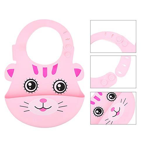 Baby Slabbetje Draagbare Verstelbare Handdoek Food-Siliconen Leuke Cartoon Dier Zuigelingenvoeding Gereedschap Levert 1-3 Jaar Oude Baby(Roze kat)