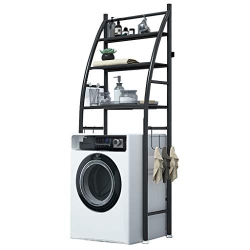 Zzmop Support de Rangement pour Machine a Laver a 3 Couches,Étagère de Salle de Bain Utilitaire en Acier Inoxydable avec Crochets,pour Buanderie,Toilettes.