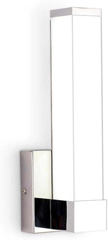 Joosenhouse 17106W LED Wall Light Lamps Indoor Modern Bedside Sconces Lighting Fixtures Square Bathroom Vanity Lights Chrome Finish