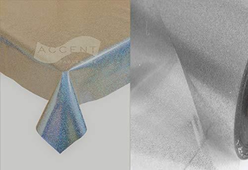 Mantel de PVC fácil de limpiar, mantel de vinilo, protector de mesa de cocina, transparente con purpurina plateada., vinilo pvc, Transparente, 100 x 140cm