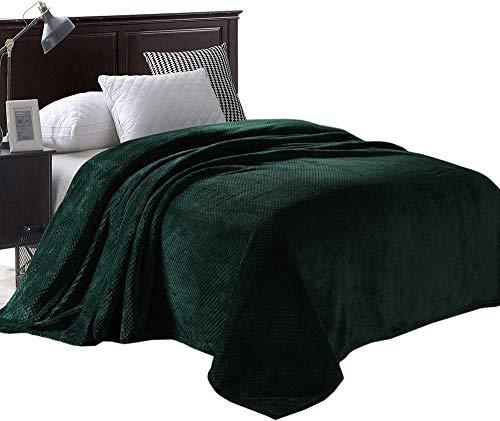 XZHYMJ Manta de Cama de Felpa de Franela con patrón de gofres de tamaño Doble como Colcha/Colcha/Cubierta de Cama Suave, Ligera, cálida y acogedora-Bosque Verde_Gemelo (230x168CM)
