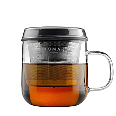 HOMAK - Tea/Coffee Glass Mug with Stainless Steel Infuser and Lid, Superb Double-Layer Strainer, for Loose Tea or Coffee Powder - Large (420ml / 14oz) (Single Walled Glass, Dark Grey)