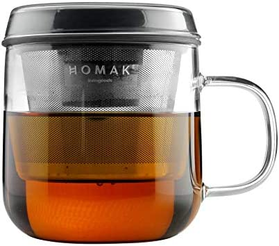 HOMAK Tea Coffee Glass Mug with Stainless Steel Infuser and Lid Superb Double Layer Strainer product image