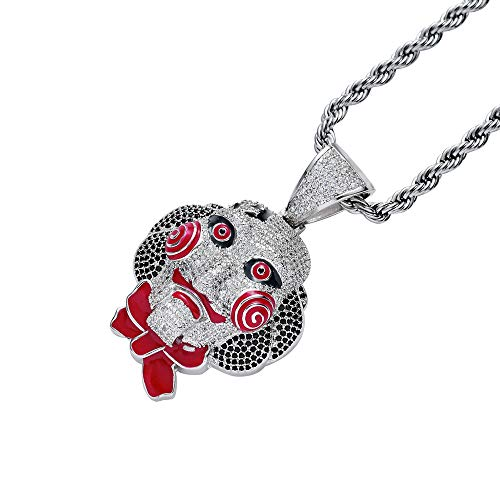 Union Power Men's Necklaces Hip-Hop Pendant, Chainsaw Cry Pendant Necklace Halloween Cosplay (Silver)
