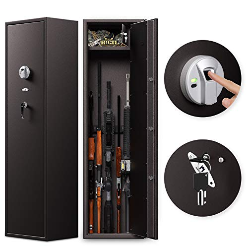 Cozy Castle Rifle Safe, Fingerprint Rifle Storage for 6 Rifles, Quick Access Gun Cabinet with Double Unlock, Long Gun Safe with 8-Pistol Locker, Large Safe for Home, Optional Mute Mode