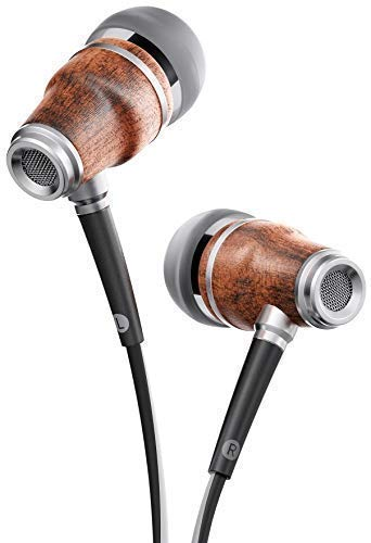 Symphonized NRG 3.0 Earbuds in-Ear Headphones, Wood Noise-isolating Earphones with Microphone & Volume Control (Black & White)