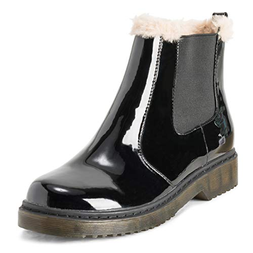 VIVASHOES Womens Chelsea Boots Fur Lined Leather Pull On Waterproof Chunky Rubber Sole Winter Snow...