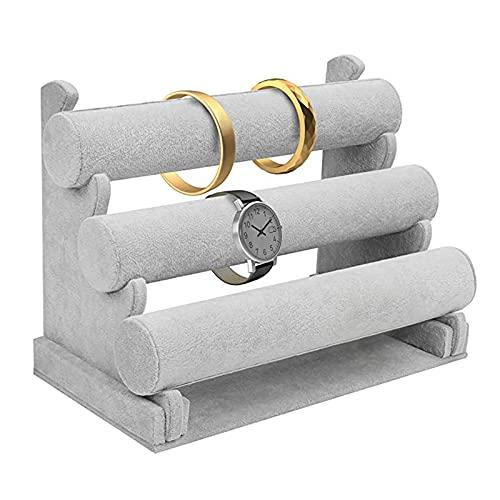 ASDF Expositor Pulseras Terciopelo 3 Niveles Organizador Pulseras Soporte Relojes Pulsera con Barras Desmontables Exibidor Joyas Soporte