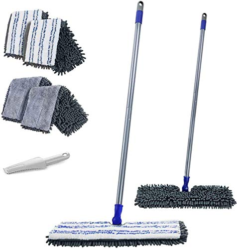 MASTERTOP Doppelseitig Bodenwischer Wischmop aus Chenille mit Schaber und 4 Mopppads für trockenem und feuchtem, Flach Mopp zum Reinigung