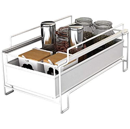 Especiero Extensible Multifunción Spice Rack Organizador Estante Especias Desmontables Lavabo Cocina Para Almacenamiento Baño Dormitorio Cocina Superficie,Blanco