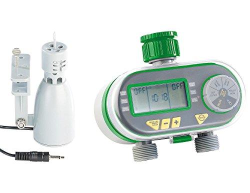 Royal Gardineer Wassercomputer: Digitaler Bewässerungscomputer BWC-200 mit 2 Anschlüssen & Regensensor (Bewässerungscomputer Garten)