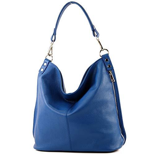 modamoda de - T177 - ital. Damen Schultertasche aus Leder, Farbe:Blau