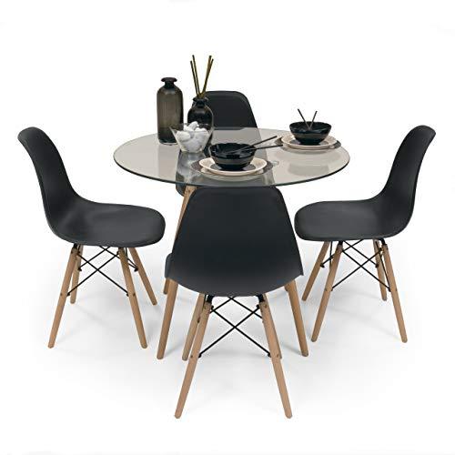 Conjunto de Comedor Tower Cristal. Mesa de Cristal Redonda de 90 cm y 4 sillas MAX Tower (Negro)