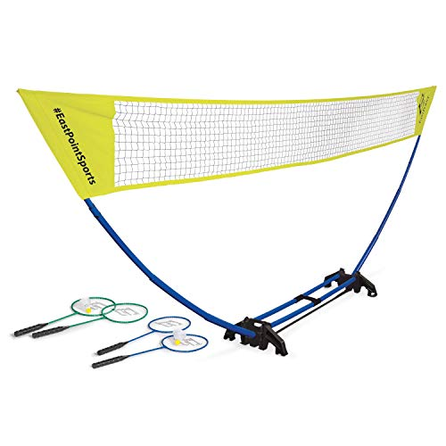 EastPoint Sports Easy Setup Regulation Badminton Set with Carry Storage Base, Net, 4 Rackets and 2 Shuttlecocks (1-1-41705-DS)