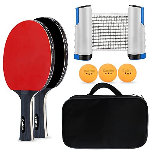 Cadrim Set da Ping Pong Professionale Tennis da Tavolo Set di Racchette Ping Pong Set Portatile con Rete Retrattile 2 Pagaia da Ping Pong Racchetta 3 Palline da Gioco Sfere Custodia Indoor Outdoor