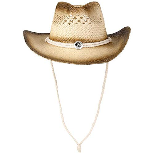 ArtCreativity Straw Cowboy Hat for Teens and Adults, 1PC, Cowboy Costume Hat with Chinstrap and Sunburst Pendant, Cow Boy Costume Prop for Kids, Dress Up Parties, and Country Concerts Beige