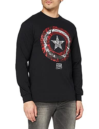 Marvel Ca Comic Shield Long Sleeve Top Camiseta de Manga Larga, Negro, M para Hombre