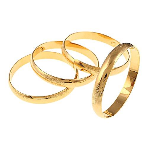 BR Gold Jewelry Armreif, 10 mm breit, goldfarben, matt, einfach, für Brautschmuck, 4 Stück