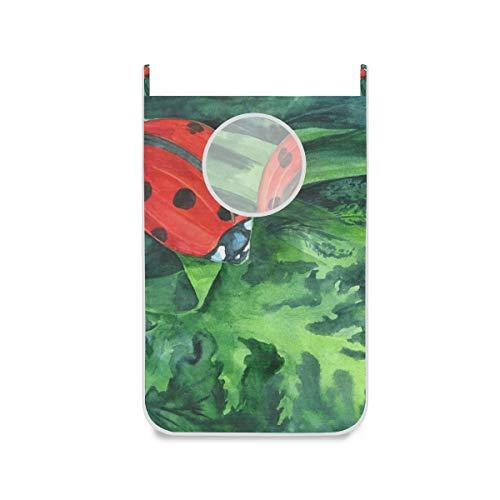 XiangHeFu Bolso de Tela Plegable Grande para Dormitorio Cesto para Colgar en la Puerta Cesto de la Ropa Pintura Linda de la Mariquita
