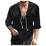 Dasongff Camisa para hombre de manga larga Henley, camisa de verano para hombre, cuello en V, con cordones, corte regular, transpirable, cómoda, manga 3/4