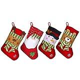 KINDPMA 4 Piezas Medias de Navidad Regalo Medias de Navidad Grande Calcetines de Navidad para Decoración Navideña Amado por los Niños