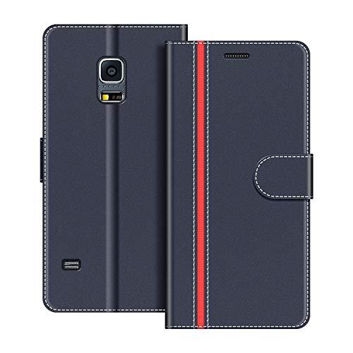 COODIO Handyhülle für Samsung Galaxy S5 Mini Handy Hülle, Samsung Galaxy S5 Mini Hülle Leder Handytasche für Samsung Galaxy S5 Mini Klapphülle Tasche, Dunkel Blau/Rot