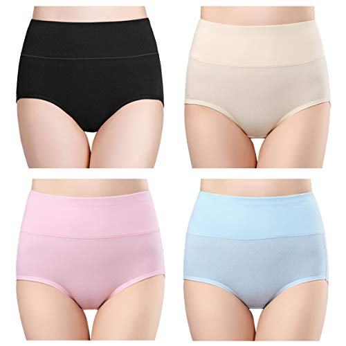 wirarpa Women's High Waisted Cotton Underwear Briefs Ladies Soft Breathable Full Coverage Panties Multipack