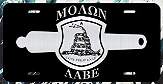 JMM Industries Molon Labe Gadsden Flag Crest W/Canon Vanity Novelty License Plate Tag Metal 12-Inches by 6-Inches Etched Aluminum UV Resistant ELP030
